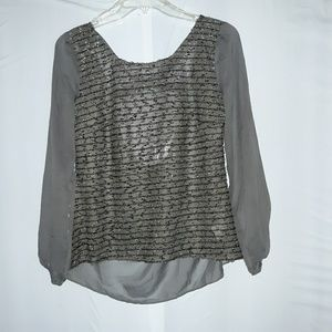 Women's a'reve sparkly and sheer top size L